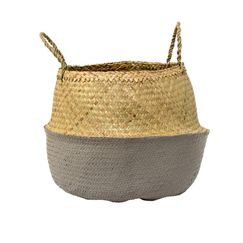 Bloomingville Natural and Gray Seagrass Basket with Handles