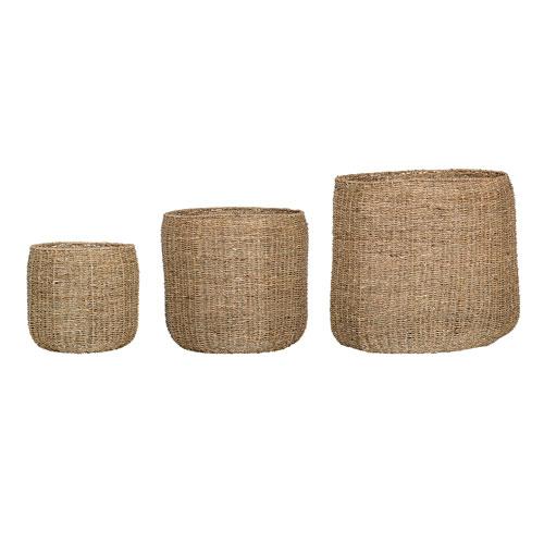 Round Seagrass Baskets, Set of 3