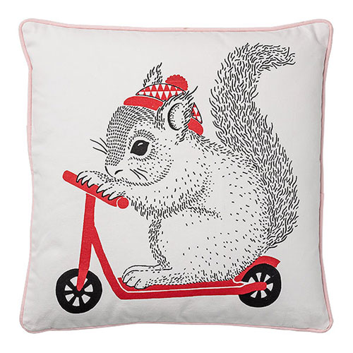 Squirrel on Scooter 20 In. Fabric Pillow