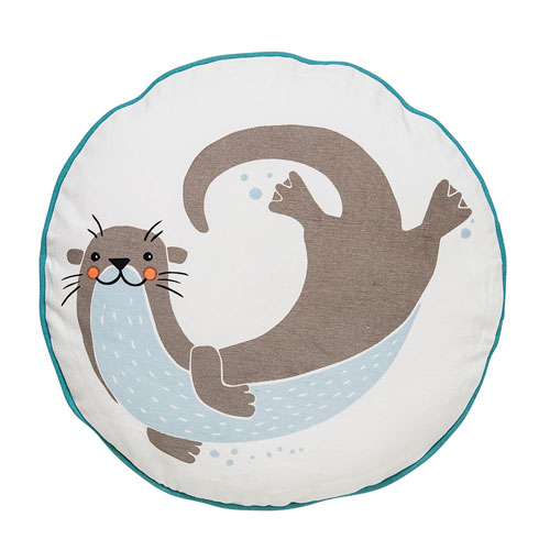 Blue Sea Otter 16 In. Round Pillow