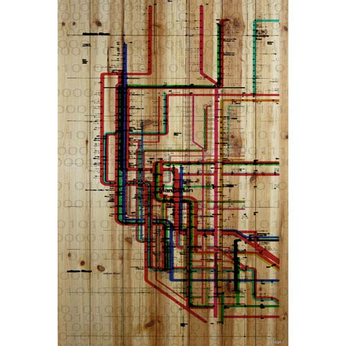 Parvez Taj Subway 30 x 45 In. Painting Print on Natural Pine Wood