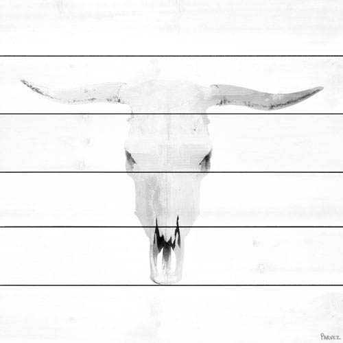 Parvez Taj Boho Skull Grey 18 In. Painting Print on White Wood
