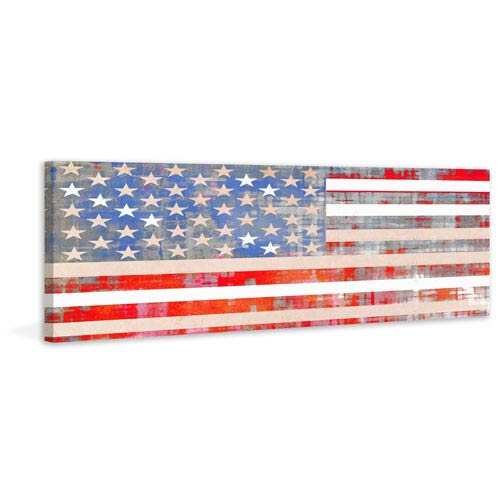Parvez Taj USA Flag 30 x 10 In. Painting Print on Wrapped Canvas