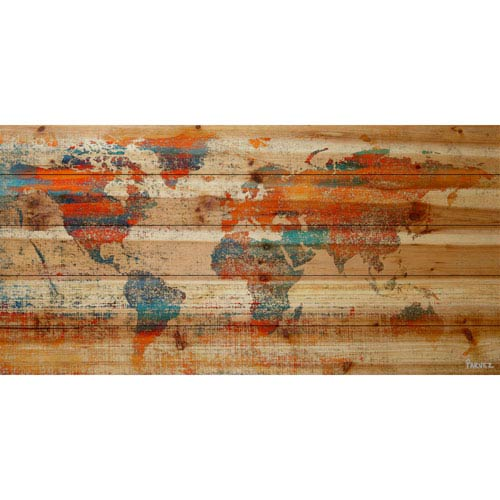 Parvez Taj Warm World 60 x 30 In. Painting Print on Natural Pine Wood
