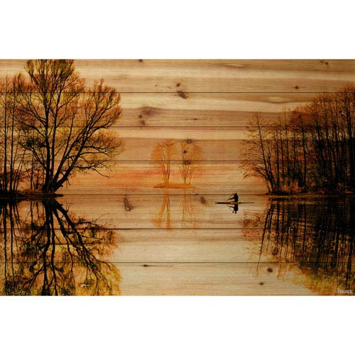 Glass Lake 60 x 40 In. Painting Print on Natural Pine Wood