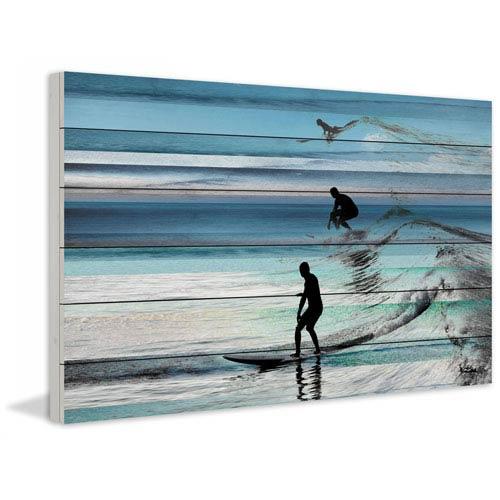 Parvez Taj Wave Jumping 30 x 20 In. Painting Print on White Wood