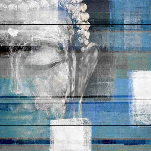 Blue Buddha 40 In. Painting Print on White Wood