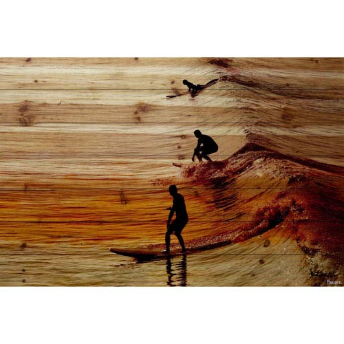 Parvez Taj Surfing the Wave 36 x 24 In. Painting Print on Natural Pine Wood
