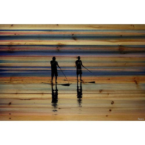 Parvez Taj Beach Surf 18 x 12 In. Painting Print on Natural Pine Wood