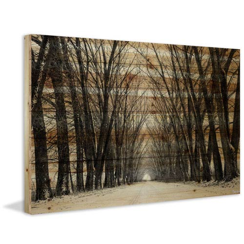 Tree Path 45 x 30 In. Painting Print on Natural Pine Wood