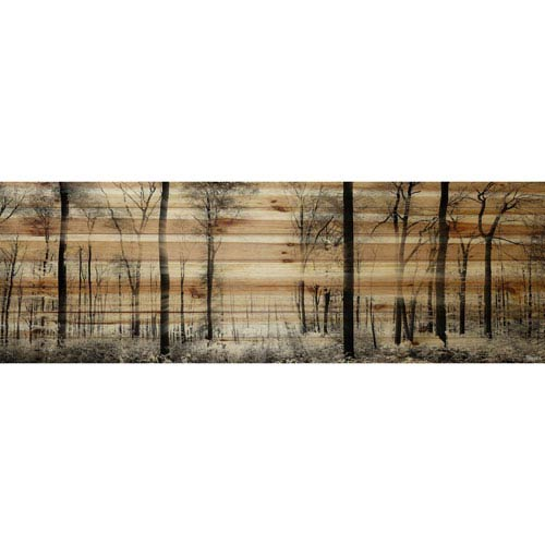 Panoramic Forest 60 x 20 In. Painting Print on Natural Pine Wood