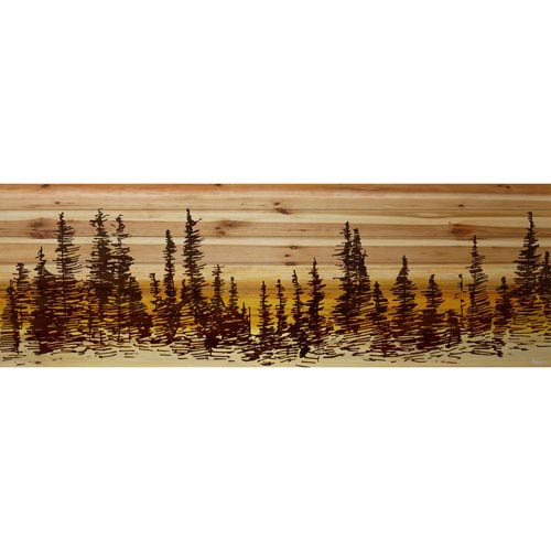 Parvez Taj Pine Tree Sunset 60 x 20 In. Painting Print on Natural Pine Wood