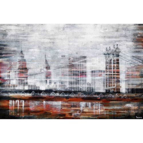 Parvez Taj Brooklyn Bridge View 60 x 40 In. Painting Print on Wrapped Canvas