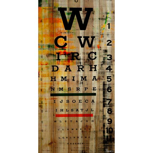 Eye Chart 22.5 x 45 In. Painting Print on Natural Pine Wood