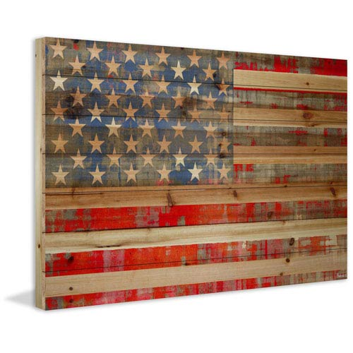 American Dream 36 x 24 In. Painting Print on Natural Pine Wood