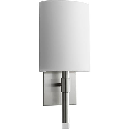 277 volt wall sconces bellacor oxygen lighting beacon satin nickel one light 120v277v wall sconce with matte white aloadofball Gallery