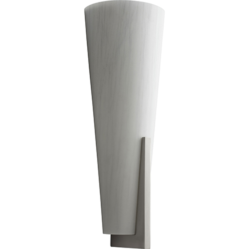 Oxygen Lighting Songbird Satin Nickel One-Light LED Wall Sconce with Silver  Cloth Shade