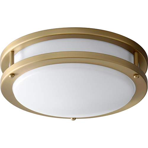 Oracle Aged Brass 11-Inch One-Light LED Flush Mount with Matte White Shade