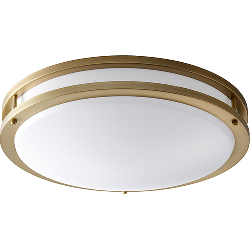 Oracle Aged Brass 18-Inch One-Light LED Flush Mount with Matte White Shade