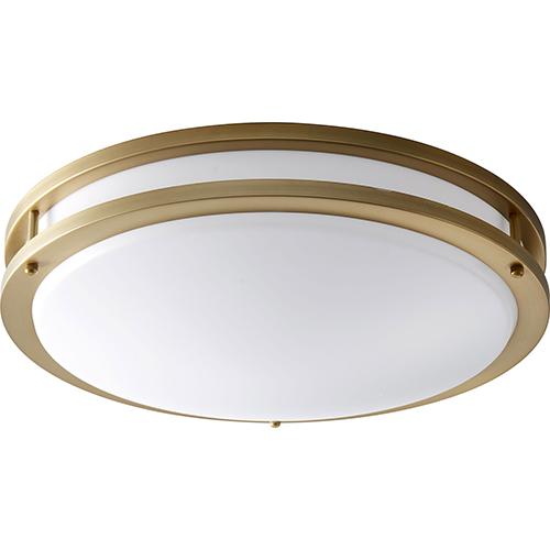 Oxygen Lighting Oracle Aged Brass Two-Light LED Flush Mount