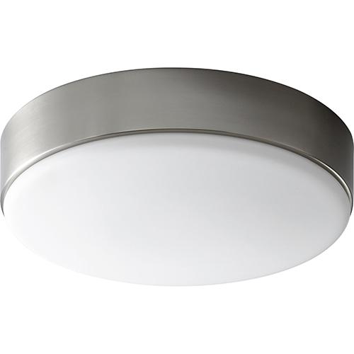 Oxygen Lighting Journey Satin Nickel One-Light LED Flush Mount with Matte White Shade