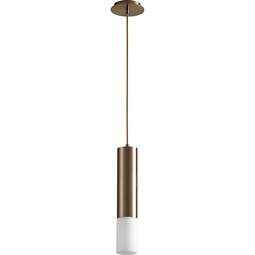 Opus Satin Copper One-Light LED Mini Pendant with Matte Opal Glass