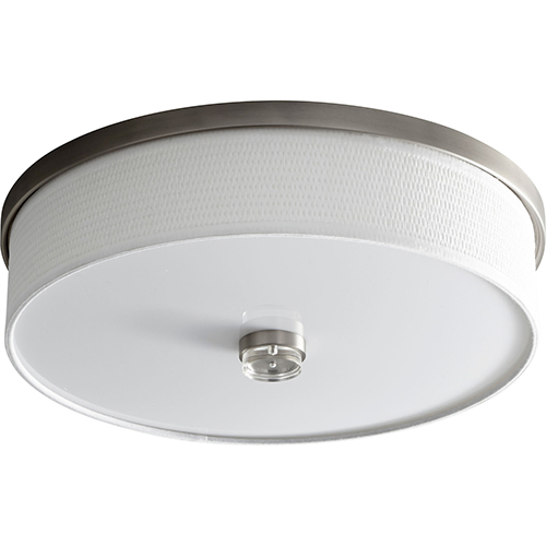 Oxygen Lighting Echo Satin Nickel Four-Inch Two-Light LED Flush Mount with White Grass Shade