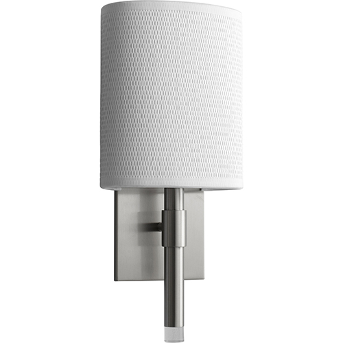 Beacon Satin Nickel One-Light LED 277V Wall Sconce with White Grass Shade