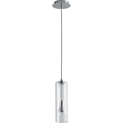 Gratis Polished Chrome One-Light LED 277V Mini Pendant with Clear Glass