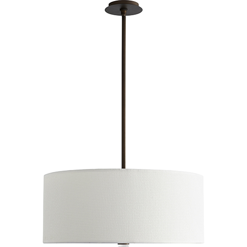 Oxygen Lighting Echo Oiled Bronze 24-Inch Three-Light LED 277V Pendant with White Grass Shade