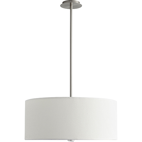 Oxygen Lighting Echo Satin Nickel 24-Inch Three-Light LED 277V Pendant with White Grass Shade
