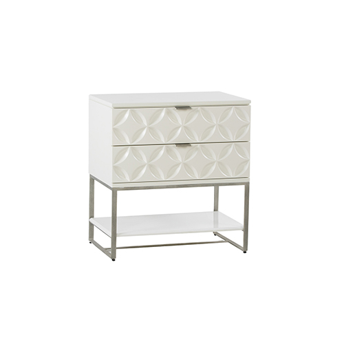 Rosie White Satin Lacquer and Brushed Silver 28-Inch Chest