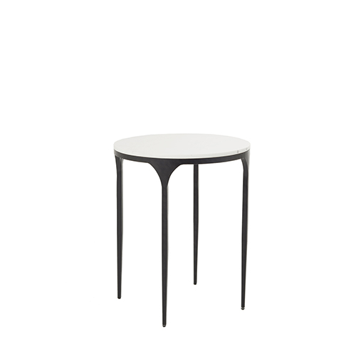 Gabby Home Hart Textured Black And Roman White Marble 26 Inch Side Table