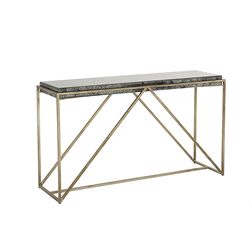 Gabby Home Winslow Black Antique and Brushed Champagne 55-Inch Console Table