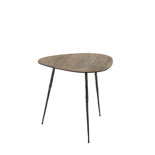 Gabby Home Jim Recycled Elm and Black Forged Metal 19-Inch Side Table