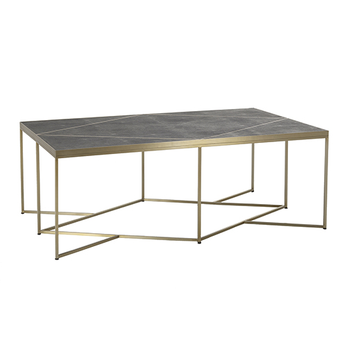 Kenway Dark Gray Shagreen and Stainless Gold Metal 52-Inch Coffee Table