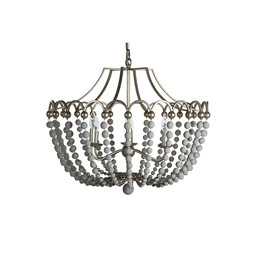 Peggy Champagne Silver and Dove White 28-Inch Chandelier