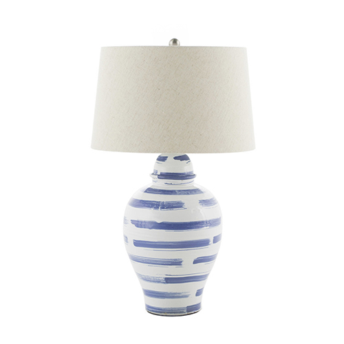 Sullivan Blue Brushed Ceramic and Brushed Nickel 11-Inch Table Lamp