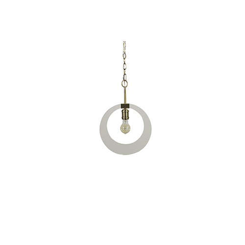 Kira Antique Brass and Clear Acrylic 12-Inch Pendant