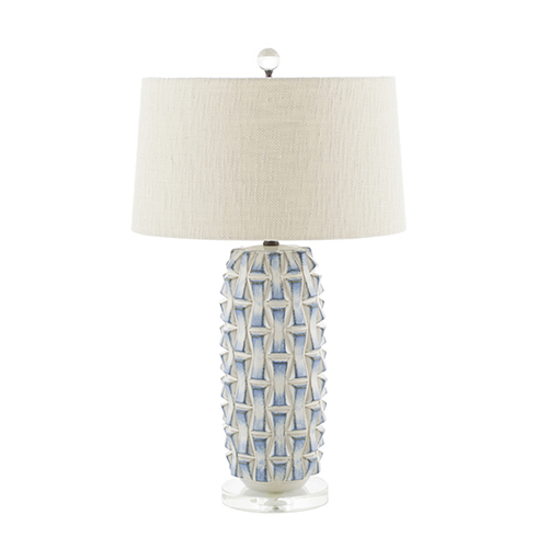 Kelly Blue and White Ceramic and Burnished Bronze 7-Inch Table Lamp
