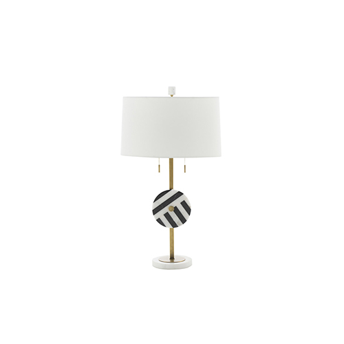 Gabby Home Piper Black and White Marble and Antique Brass 7-Inch Table Lamp