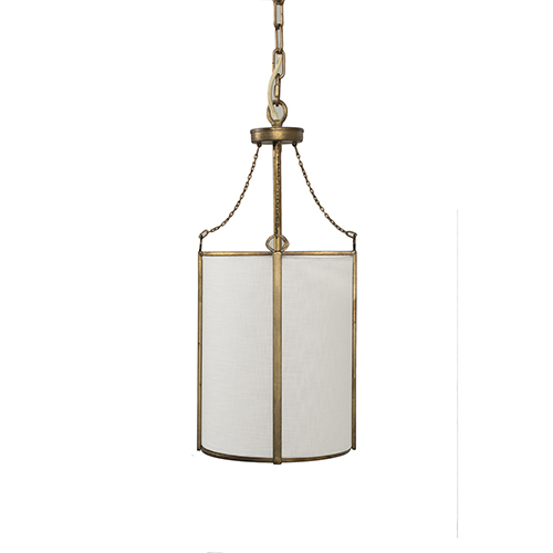 Ida Antique Gold and White Linen 9-Inch Mini Pendant