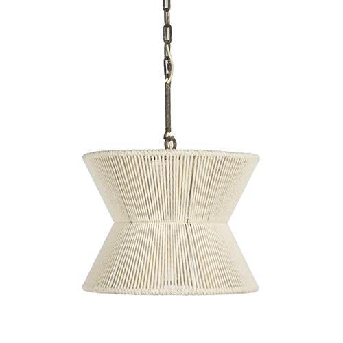 Gordon White Cotton Rope and Rust 16-Inch Pendant