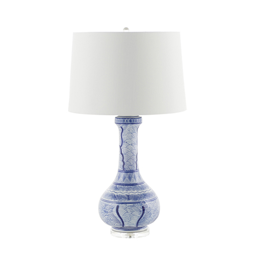 Braxton Blue and White Ceramic and Clear Acrylic 9-Inch Table Lamp