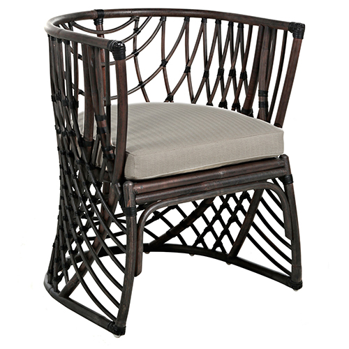 Asher Beige Linen And Black Rattan Dining Chair