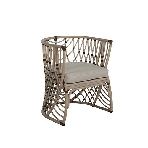 Ashley Natural Rattan And Beige Linen Dining Chair