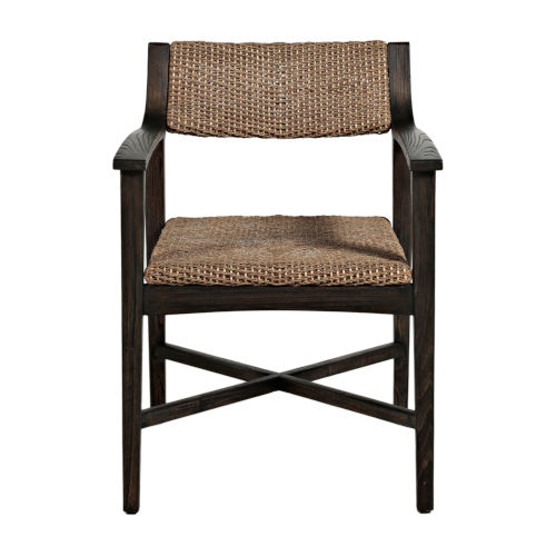 Richard Dark Brown and Natural Seagrass 32-Inch Arm Chair