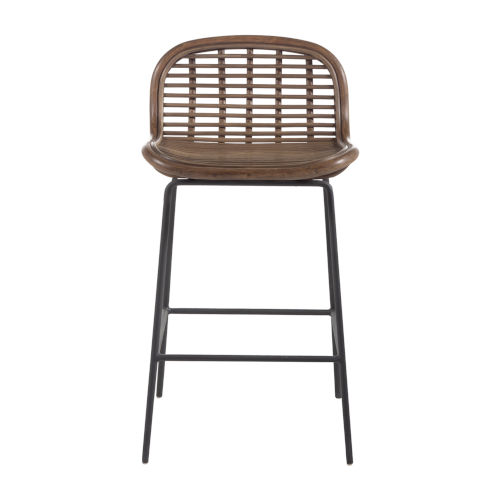 Jake Matte Gray and Rattan 25-Inch Counter Stool