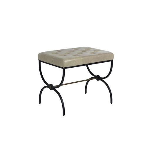 Galvin Textured Black Metal And Brushed Brass Stool