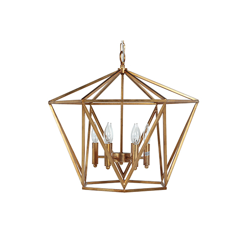 Carly Vintage Gold Six-Light Chandelier